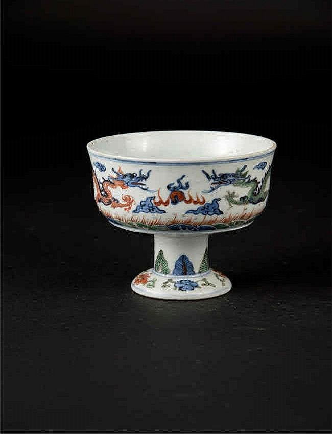 Qing, Doucai Dragon Stem Cup 清早期青花斗彩龙高脚杯
