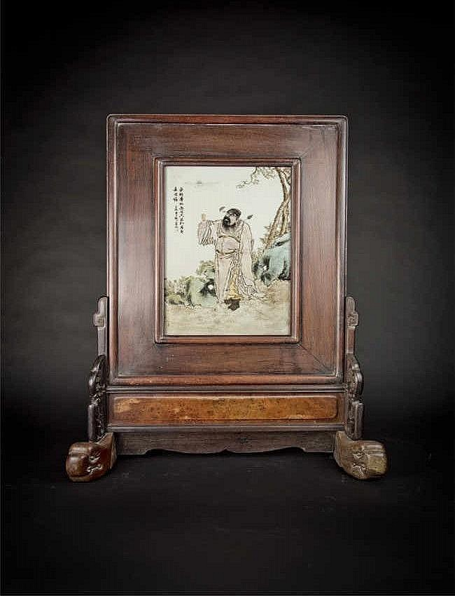 Republic Period Porcelain Plaque by Wang Qi with Red Wood Table Screen 民国王琦粉彩人物红木插屏