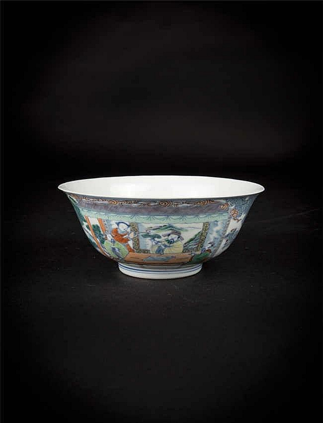 Doucai bowl depicting officials in a court setting. Reverse with a Yongzheng six-character mark.