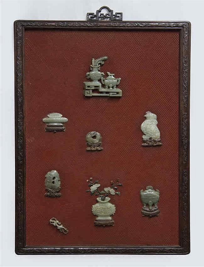 Qing, Lacquer Hanging Plaque inlaid with Jade Decorations 清 乾隆漆雕镶玉挂屏 长 (Length):105cm 宽(Width):65.8cm