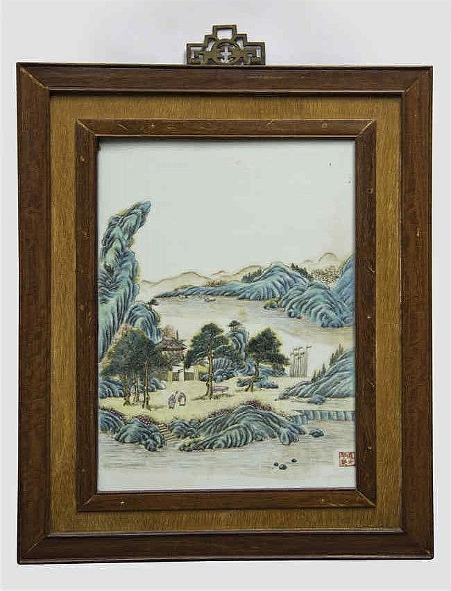 Republic Period (after Daoguang)Famille-rose Ceramic Plaque with figural Landscape 民国仿道光粉彩山水人物瓷板 高 (Height): 38.4cm 宽(Width):25.0cm