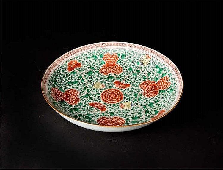 Qing, Kangxi Wucai Plate with Peony 清康熙五彩牡丹花大盘 宽(Width):38.3cm