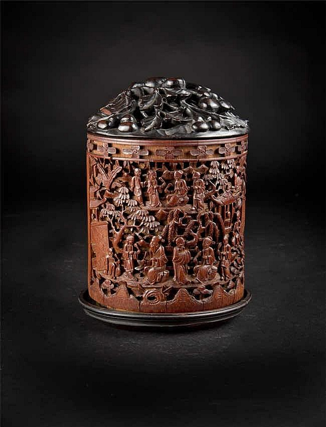 Qing Bamboo Carved Brushpot with Figures