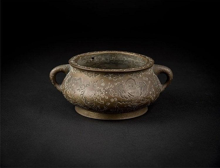 Qing Bronze Censer with Dragon Taming Tiger