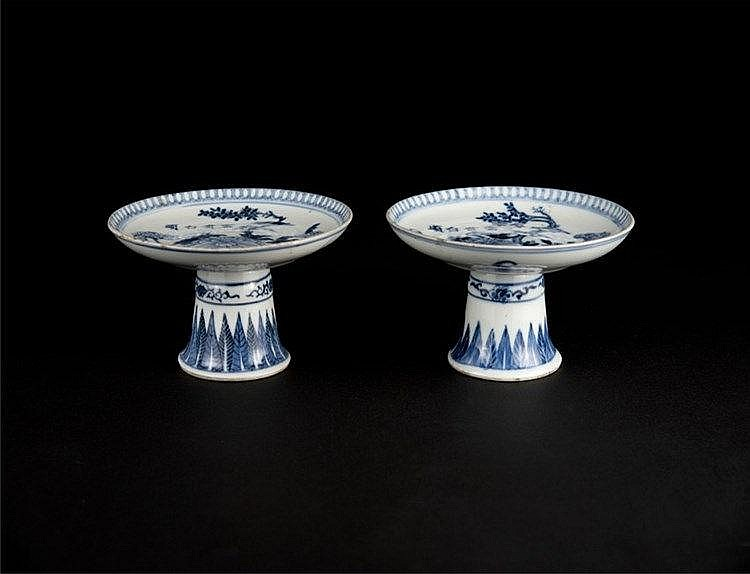A Pair of Blue and White Floral Stem Plate