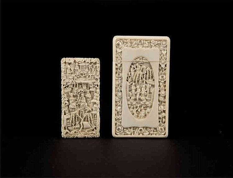 Qing, Ivory Carved Name Card Holder