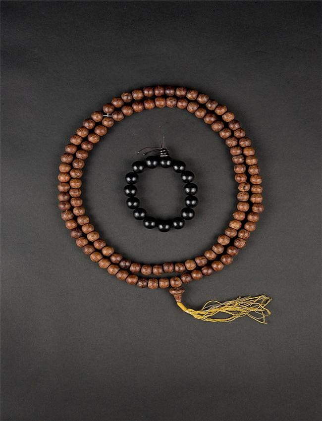 Qing, Sandalwood Prayer Bead in Double Strand and Aloeswood Bracelet