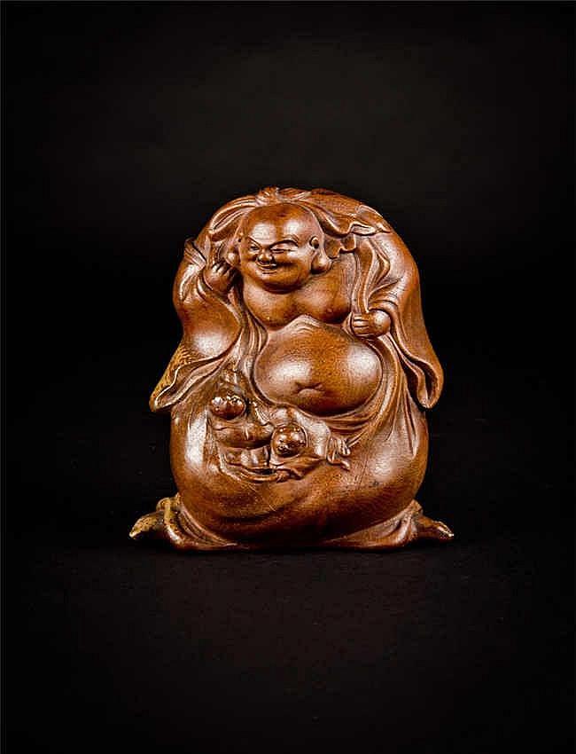 Republic Period Shiwan Figure of Budai 民国石湾瓷布袋二子罗汉