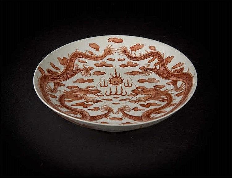 Guangzu, Dragon Plate 光绪官窑三红龙盘 宽(Width):20.0cm