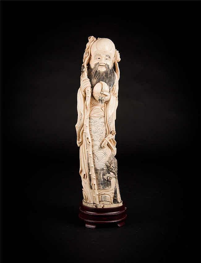 Republic Period Ivory Figure 民国象牙人物(东方朔偷桃)
