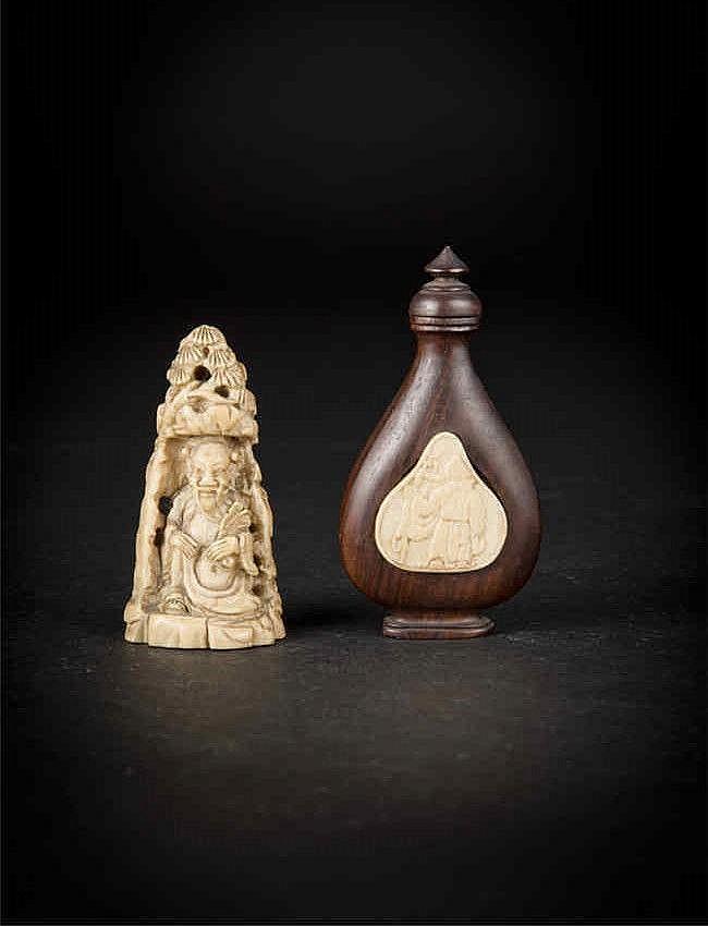 Qing An Ivory Carved Immortal and An Snuff Bottle with Longevity 清象牙雕鹿汉钟离摆件和木镶象牙寿星鼻烟壶(一组两件)