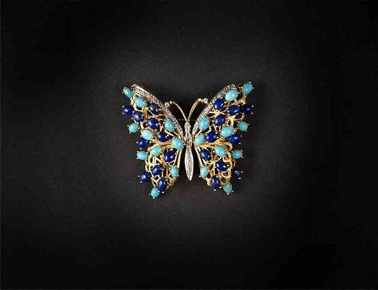 14k Yellow Gold, Diamond, Turquoise and Lapis Lazuli Butterfly Brooch