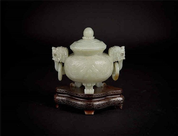 Qing, Celadon Jade Tripod Censer with Dragon Loose Rings 清 清玉雕三足炉龙耳活环