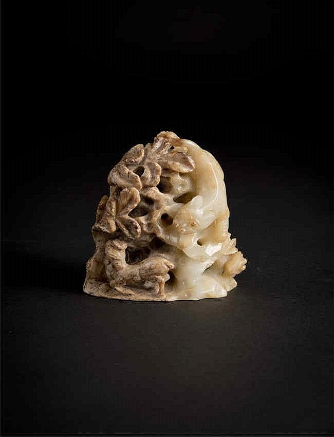 Ming Carved Jade Boulder with Tiger and Deer