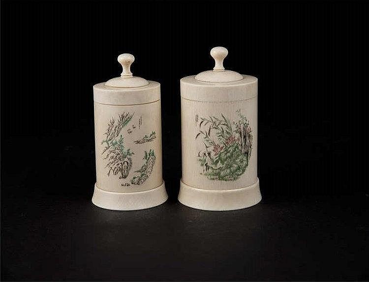 Republic Period Two Polychrome Ivory Carved Jars 民国象牙雕加彩山水 花卉罐(两个)