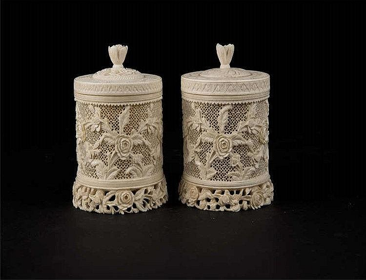Republic Period A Pair of Ivory Reticulated Carved Cricket Jar 民国象牙雕镂空花卉蟋蟀罐(一对)