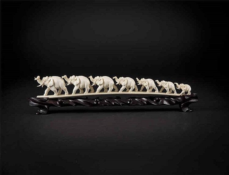 Republic Period Ivory Tusk Carving of Elephant 民国象群,象牙制品 长 (Length):38cm 重(Weight):235g