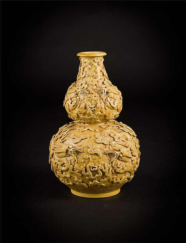 Yellow Glazed Carved Dragon Double Gourd Vase 黄釉雕龙葫芦瓶