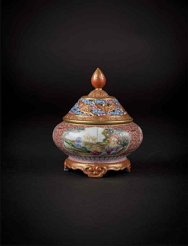 Qianlong Famille-rose Censer with Windows of Figures 乾隆珐琅彩人物檀香炉