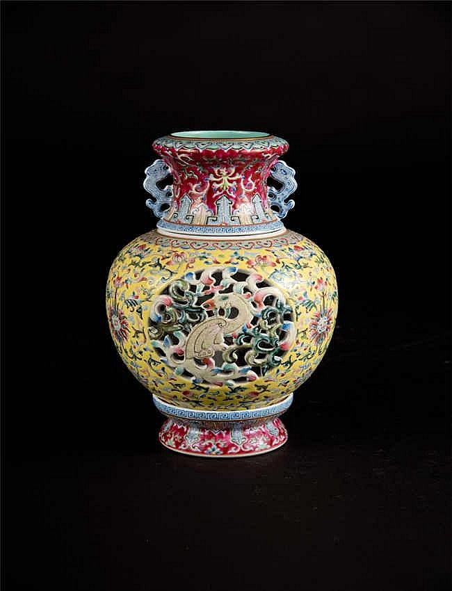 Qing, Yellow-ground Famille-rose Revolving and Reticulated Double Vase