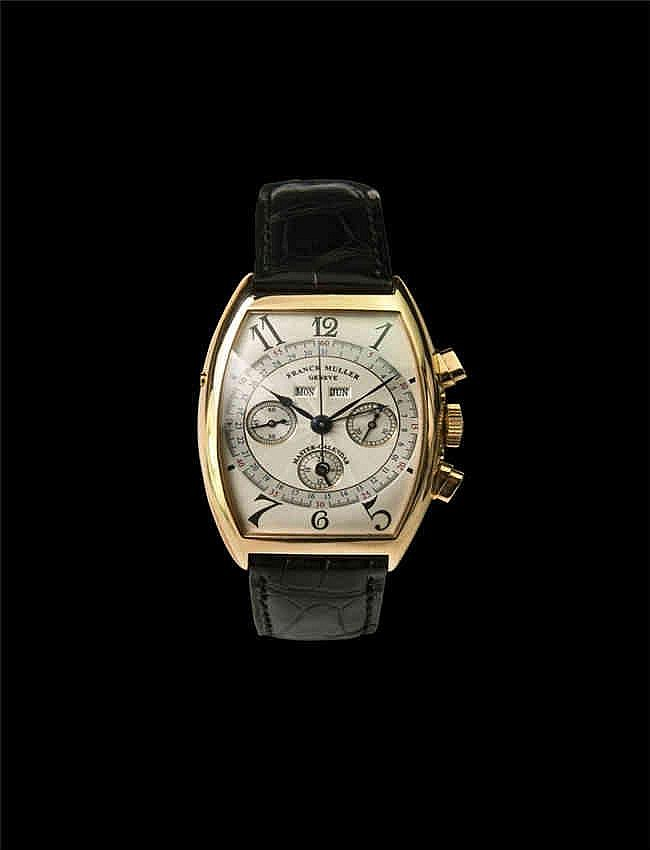Fanck Muller. An 18k Pink Gold Tonneau-Shaped Triple Calendar Chronograph Wristwatch With 24 Hour Indication