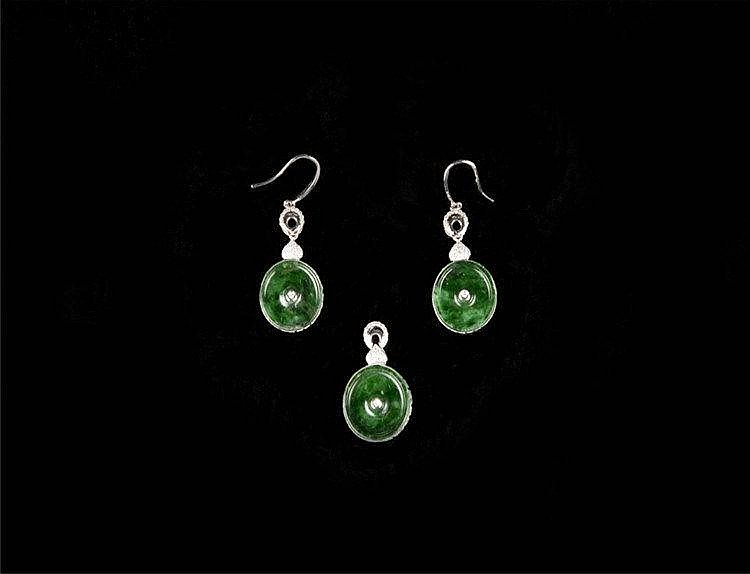Jadeite Earrings, 18k White Gold & Diamond Set 满绿翡翠18K白金镶钻耳环一对 Jadeite Pendant, 18k White Gold & Diamond Set 满绿翡翠18K白金镶钻吊坠