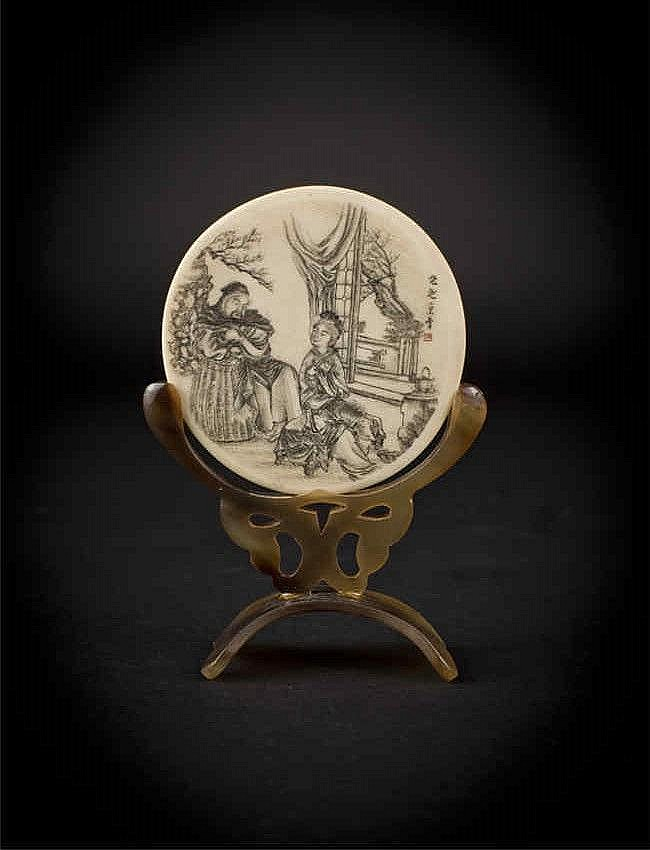 Ivory Plaque Carved with Figures with Stand 象牙人物雕刻牌(带架) 宽(Width):8.4cm 重 (Weight) : 24g