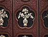 Qing, Lacquer Six-Section Folding Screen inlaid with Jade 清漆雕镶玉屏风一套6片 清 光绪屏蔽, 玉有宋, 辽金,元朝,明朝 和 清朝的 工 高(Height):40.6cm 宽(Width):183.5cm