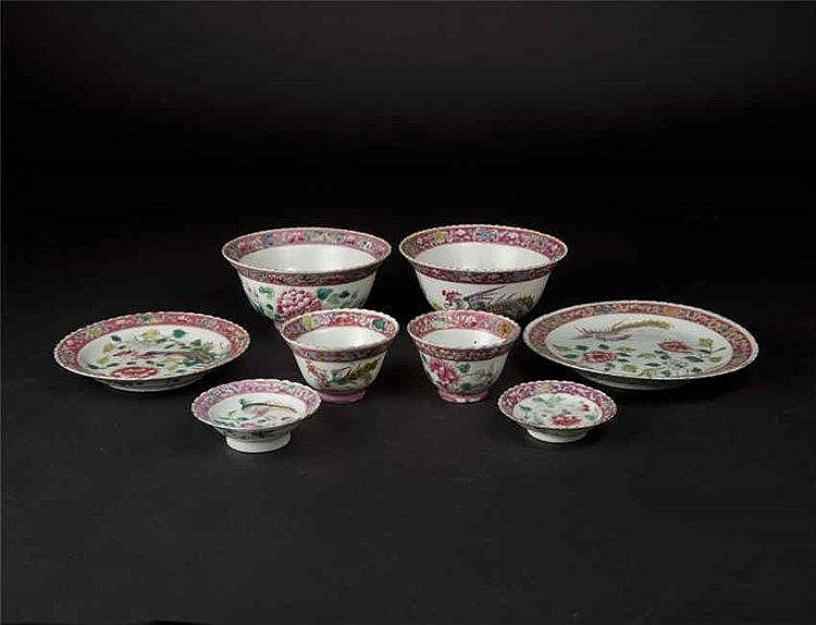 Qing Guangxu A Group of Eight Famille-rose Phoenix and Peony Plates