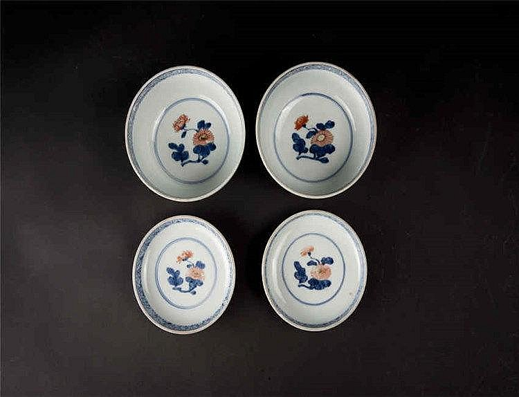 Qing A Group of Four Wucai Plates (after Ming)