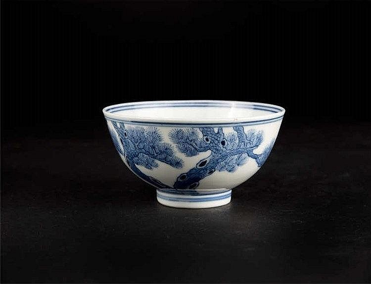 Blue and White Bowl with Pine Guangxu Mark 青花松树光绪官窑碗
