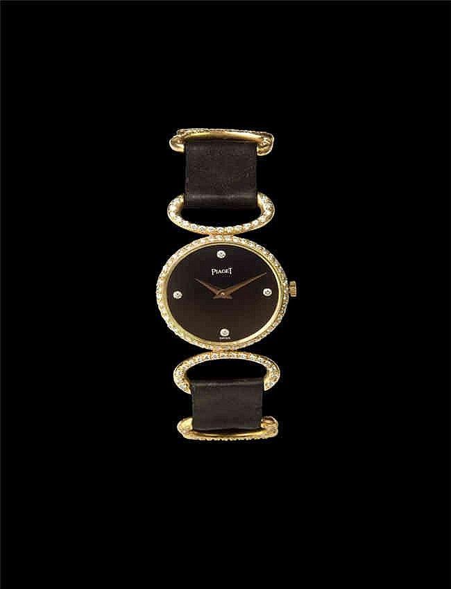 Piaget, A Lady's Yellow Gold and Diamond-set wristwatch with onxy dial. Manual winding movement , onyx dial with diamond-set quarter markers , 18k yellow gold case, diamond-set bezel, snap-on case back , with an 18k yellow gold diamond-set matching