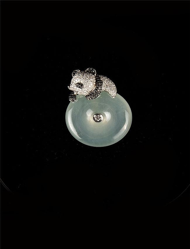 Icy Green Jadeite Donut Pendant, set in shape of Panda with 18k White Gold and Diamonds 冰种翡翠平安扣镶18K白金黑白钻立体熊猫造型吊坠