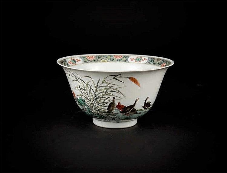 Republic Period, Famille-rose Bowl with Geese and Reed 民国粉彩芦雁碗 高(Height): 9.8cm 宽(Width):20.2cm