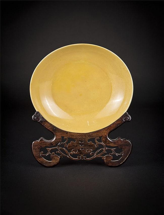 Ming, Xuande Yellow Peking Glass Plate 明宣德 黄琉璃瓦碟 宽(Width):20.0cm