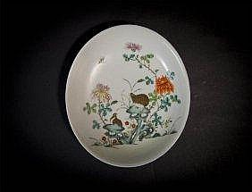 Qing, Qianlong Famille-rose Plate with Quail and Blossoms 清乾隆粉彩安居乐业盘 来源佳士得伦敦 宽(Width):15.9cm
