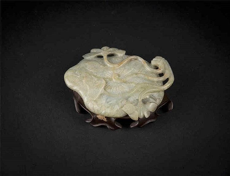 Qing, Celadon Jade Lotus Leaf-form Washer