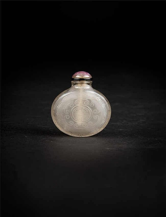 A rock crystal snuff bottle in a rounded form; Qing dynasty