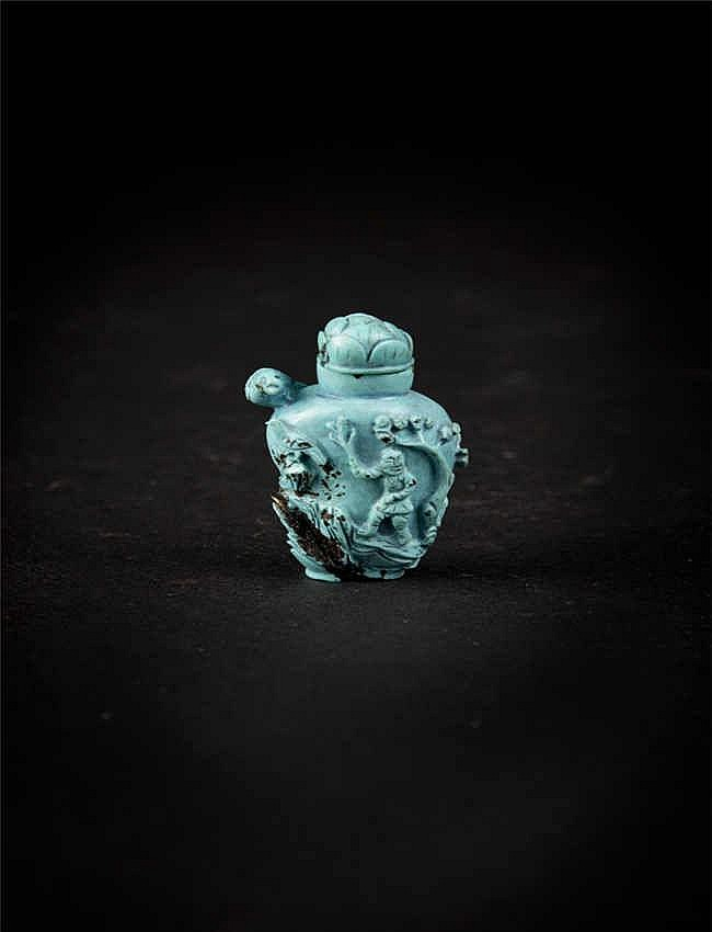 A turquoise baluster agate snuff bottle elaborately carved with designs on both facings; Qing dynasty