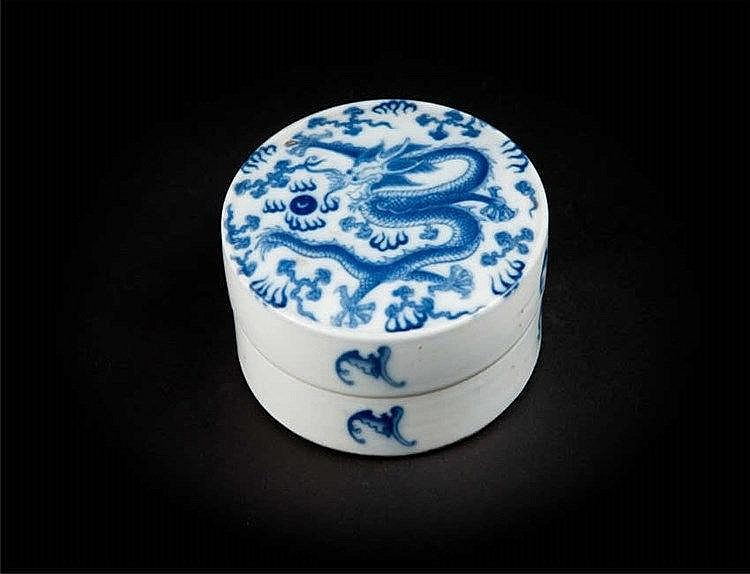 Guangxu Blue and White Seal Paste Box with Dragon 光绪青花龙印泥盒