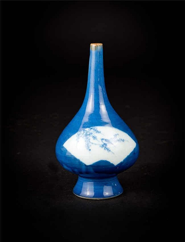 Qing, Kangxi Blue-glazed Bottle Vase with Windows of Birds and Flowers 清康熙蓝釉开光青花花鸟小胆瓶
