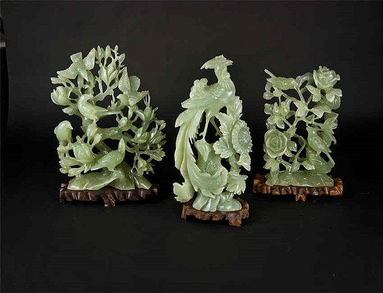 Three Jade Carvings: Phoenix, Rose and Birds 凤 玫瑰花树上鸟三件套 重(Weight):3805g/2995g/1908g