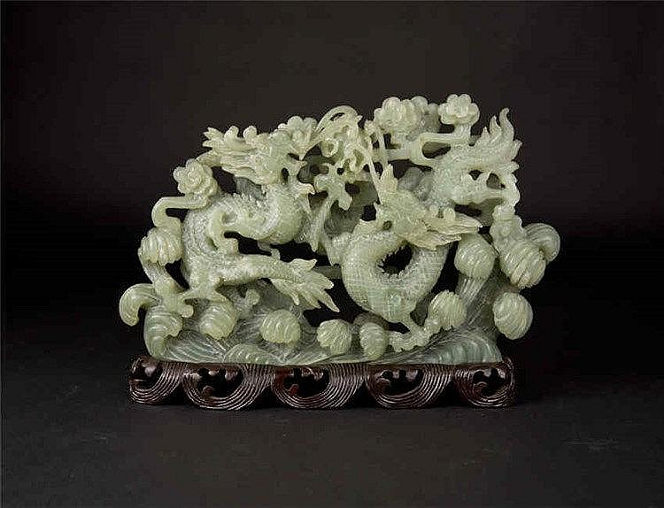 Jade Carving of Confronting Dragons chasing Pearl 岫玉双龙戏珠摆件