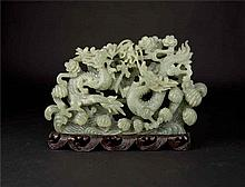 Jade Carving of Confronting Dragons chasing Pearl ????????