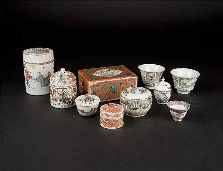 Qing, Famille-rose A Group of Ten Birds and Flowers Pillow, Wine Warmer, Seal-paste Box and Parfumier 清粉彩花鸟瓷枕,暖酒杯香盒印尼盒 (一组十件)