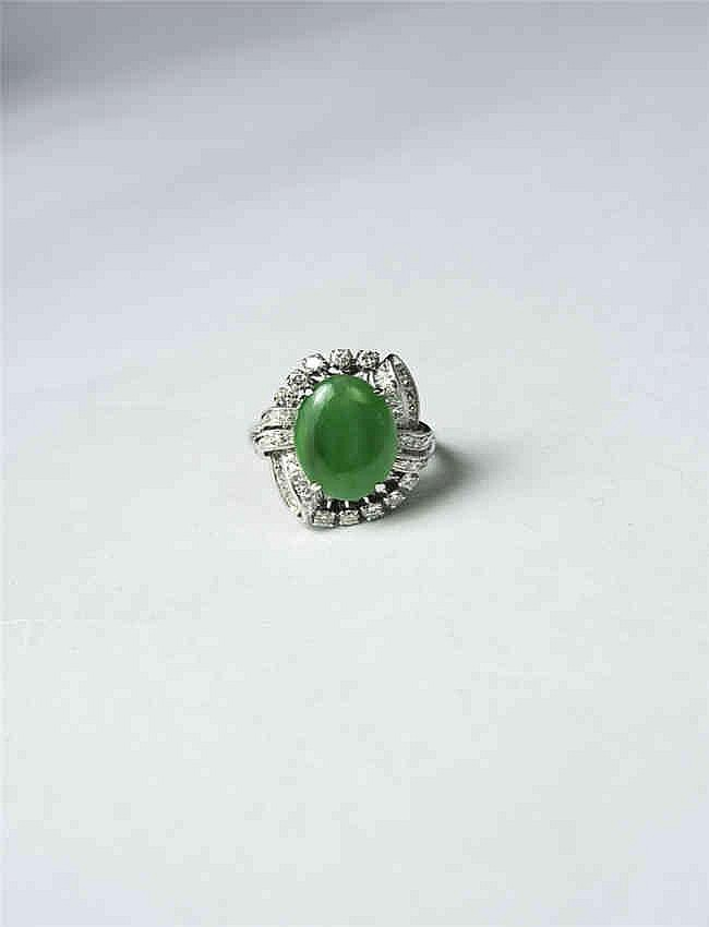 Jadeite Ring, 18k White Gold & Diamond Set