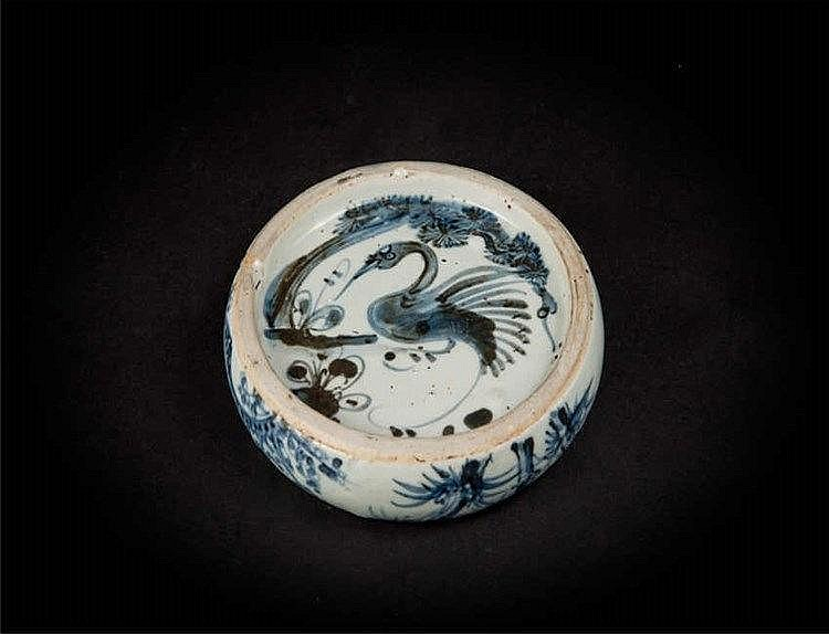 Qing Yongzheng Blue and White Inkstone with Pine, Bamboo and Plum Blossom