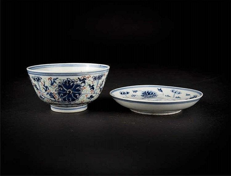 A blue & white lotus saucer dish and a doucai bowl, both with Guangxu marks and of the period.
