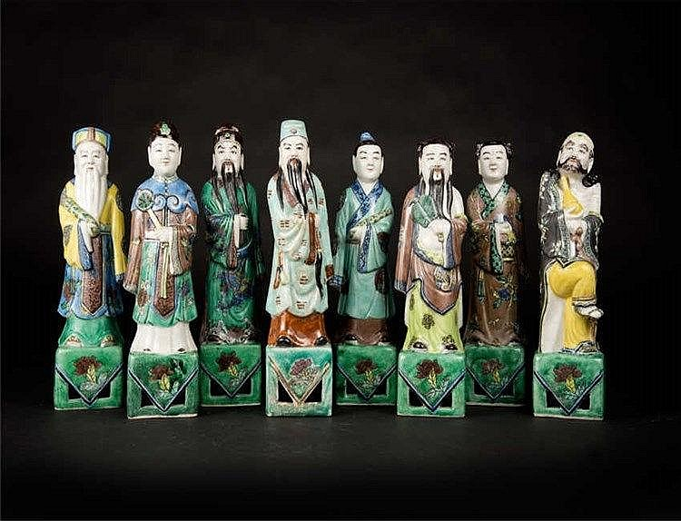 Republic Period, BiscuitEight Immortals 民国瓷素三彩八仙(一套八个) 高(Height): 24.6cm