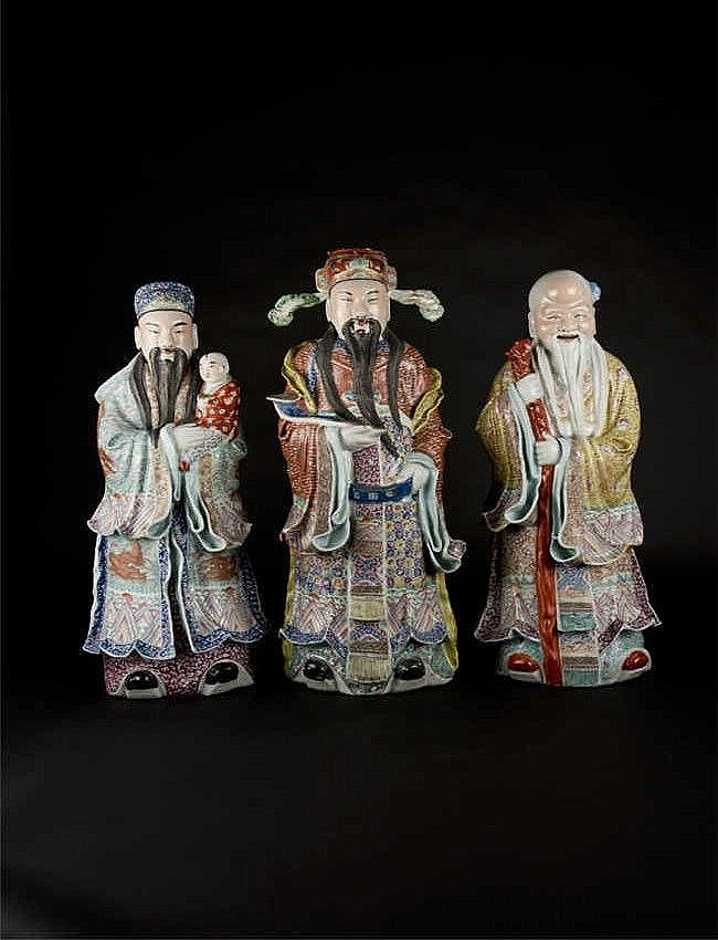 Republic Period, Famille-rose Figure of the Three Immortal of Wealth and Longevity 民国粉彩飘衣三星(一套三个) 高(Height): 60.0cm, 65.0cm,62.0cm